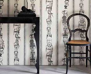 Nice shot of the Louis Console in black against interesting wallpaper and old Thonet chair