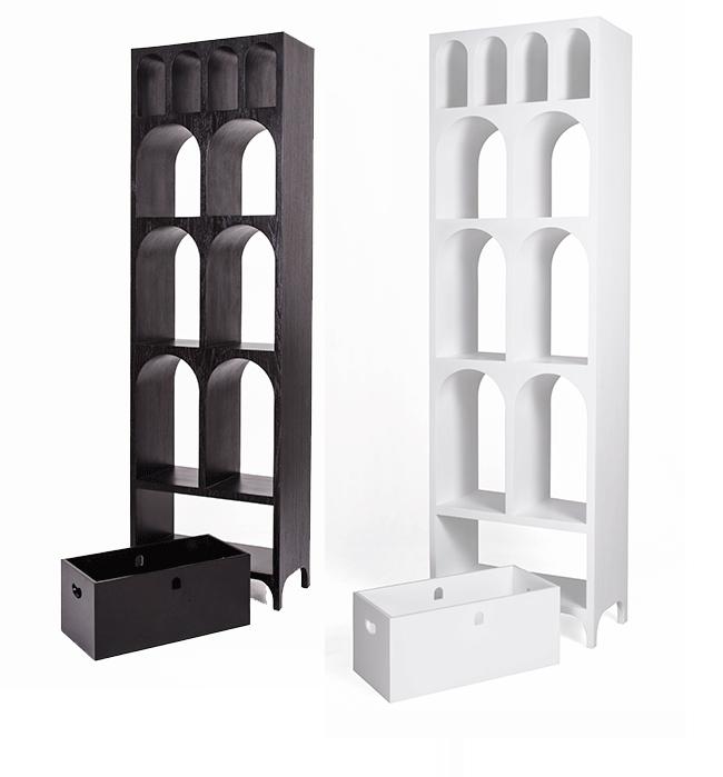 Brand new Aqueduct bookcase in matt white and also black