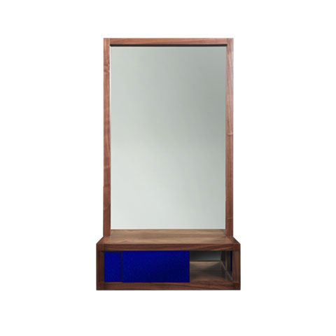 Lacquer and Walnut Mirror
