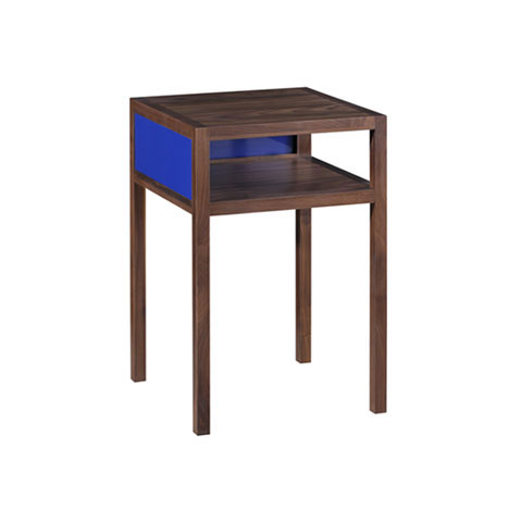 Lacquer and Walnut Two Tier Side Table