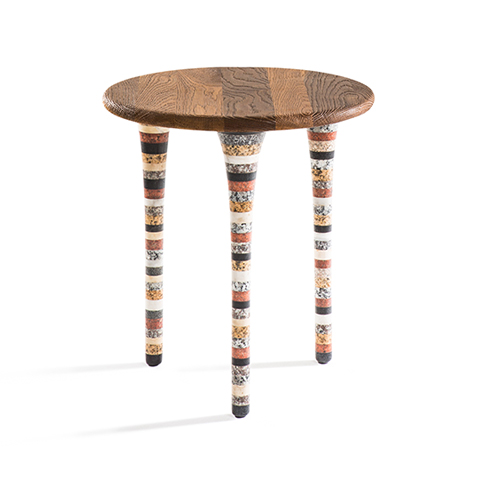 Upcycled Marble Round Side Table